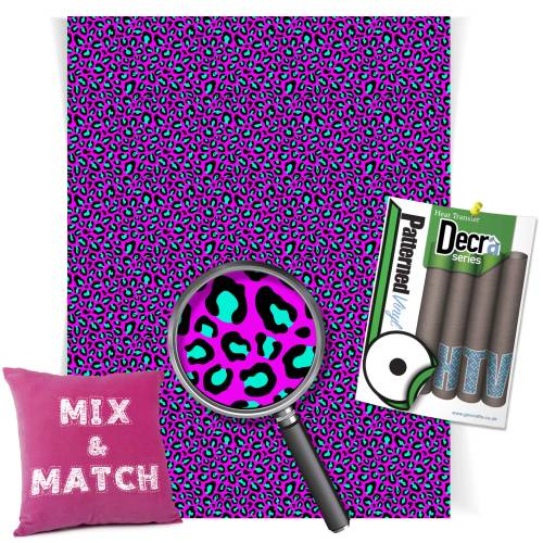 Leopard Pink And Aqua Pattern Heat Transfer HTV Vinyl Sheets From GM Crafts
