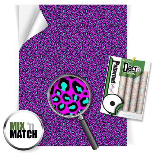 Leopard Pink And Aqua Pattern Self Adhesive Vinyl Sheets From GM Crafts