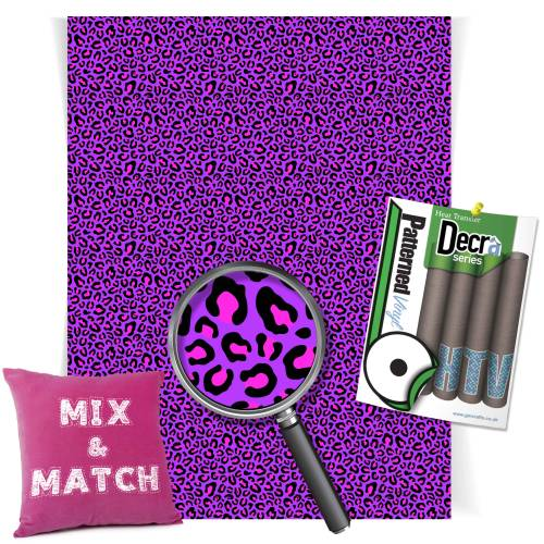Leopard Purple And Pink Pattern Heat Transfer HTV Vinyl Sheets From GM Crafts