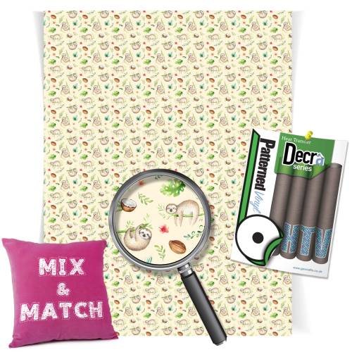Sloth Pattern Heat Transfer HTV Vinyl Sheets From GM Crafts