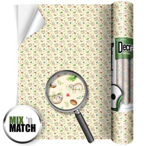 Sloth Pattern Self Adhesive Vinyl Rolls From GM Crafts
