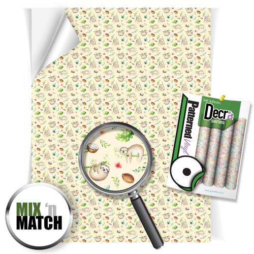 Sloth Pattern Self Adhesive Vinyl Sheets From GM Crafts