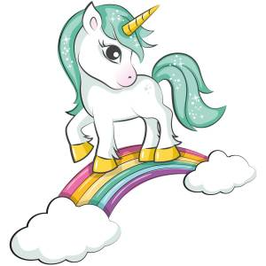 Green Haired Unicorn On Rainbow Printed Heat Transfer Iron On Decal From GM Crafts