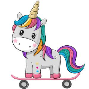 Skateboarding Unicorn Printed Heat Transfer Iron On Decal From GM Crafts